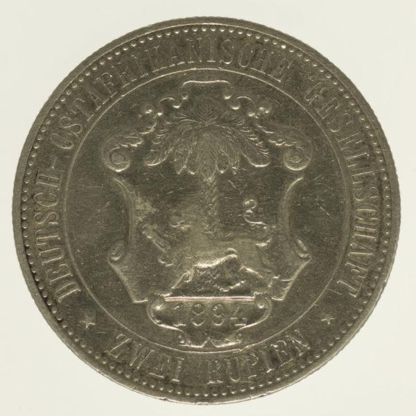 deutsche-kolonien-deutsche-silbermuenzen - Deutsch Ostafrika Wilhelm II. 2 Rupien 1894