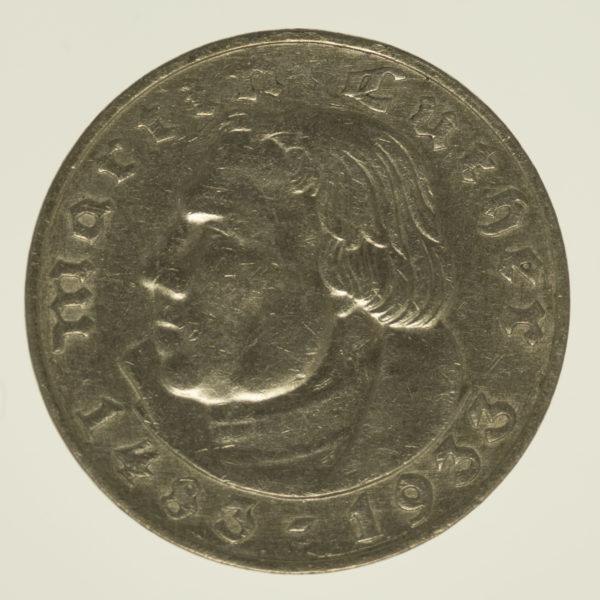 drittes-reich-deutsche-silbermuenzen - Drittes Reich 2 Reichsmark 1933 Luther