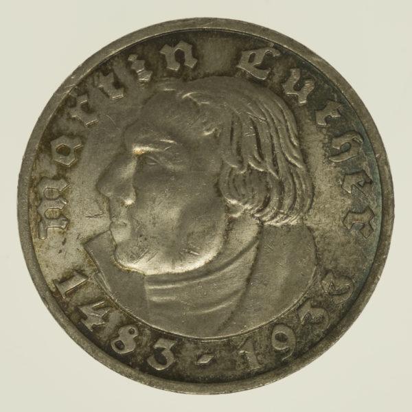 drittes-reich-deutsche-silbermuenzen - Drittes Reich 5 Reichsmark 1933 Luther