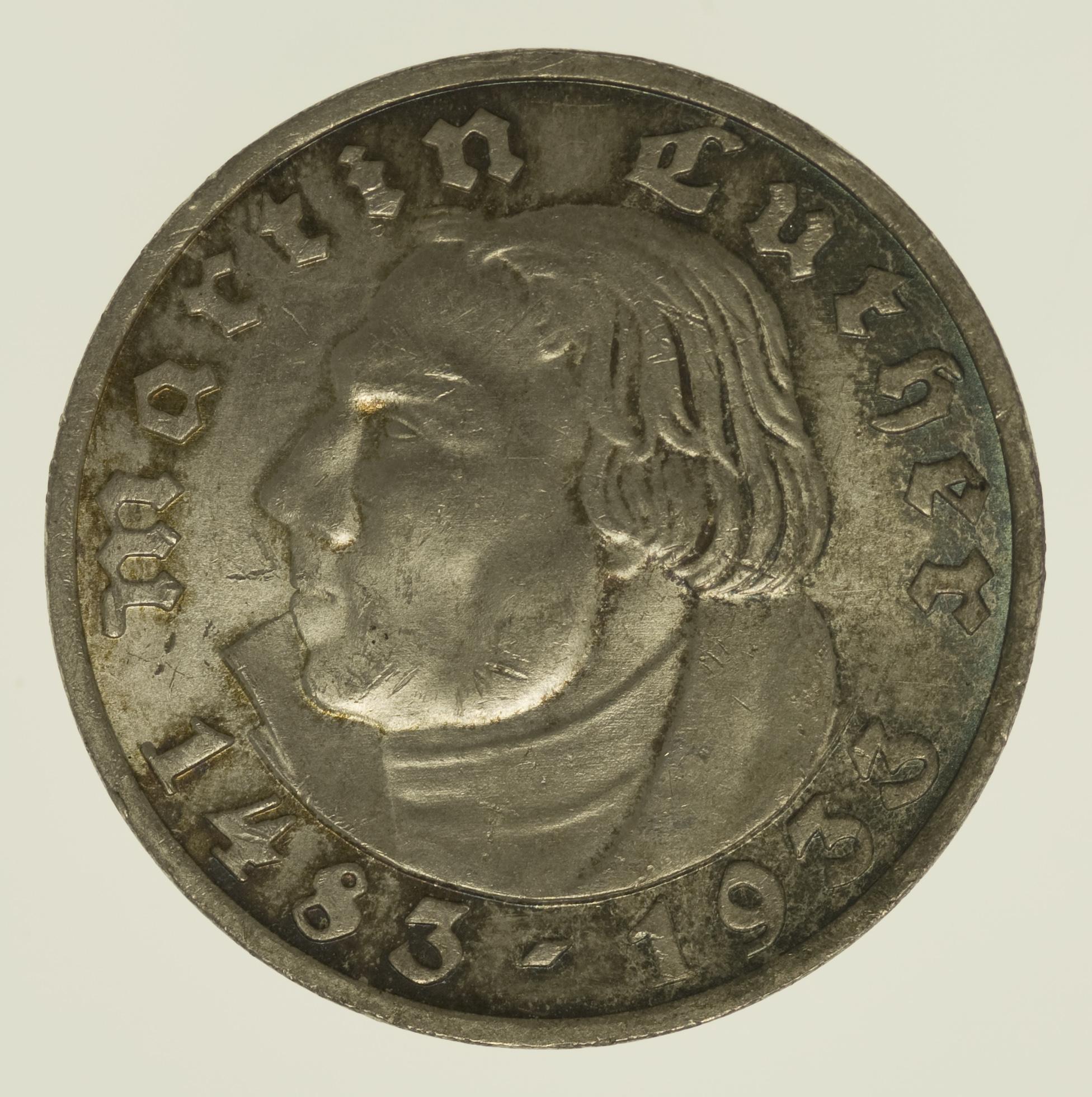Drittes Reich 5 Reichsmark 1933 Luther Pro Aurum Numismatik
