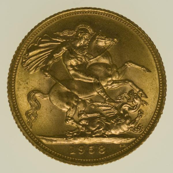grossbritannien - Großbritannien Elisabeth II. Sovereign 1958