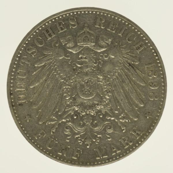 deutsches-kaiserreich-ab-1871-deutsche-silbermuenzen - Hamburg Stadtwappen 5 Mark 1898