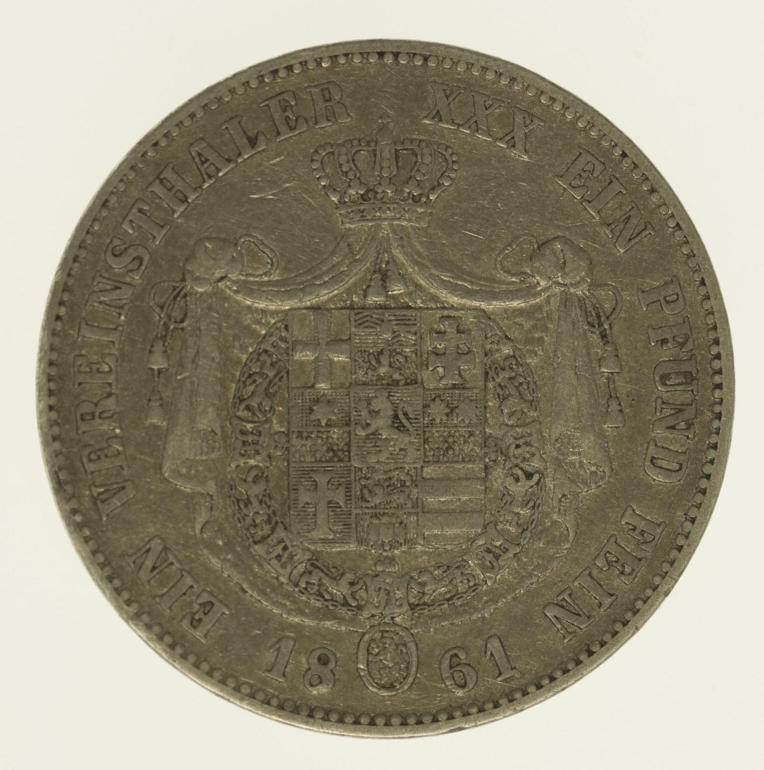 altdeutschland-deutsche-silbermuenzen - Hessen Kassel Friedrich Wilhelm I. Vereinstaler 1861