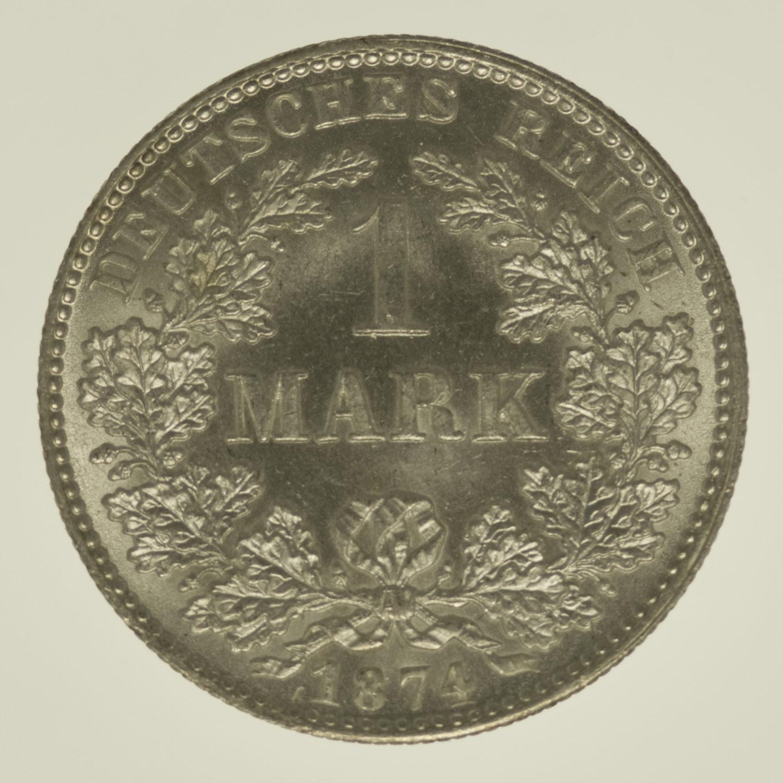deutsches-kaiserreich-ab-1871-deutsche-silbermuenzen - 1 Mark 1874 H