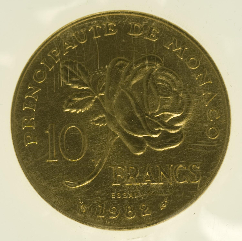monaco - Monaco Rainer III. 10 Francs 1982 Goldabschlag