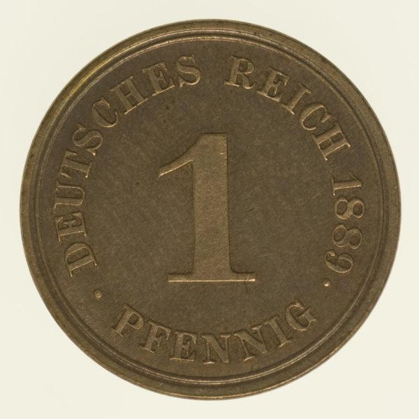 deutsches-kaiserreich-ab-1871-deutsche-silbermuenzen - 1 Pfennig 1889 E
