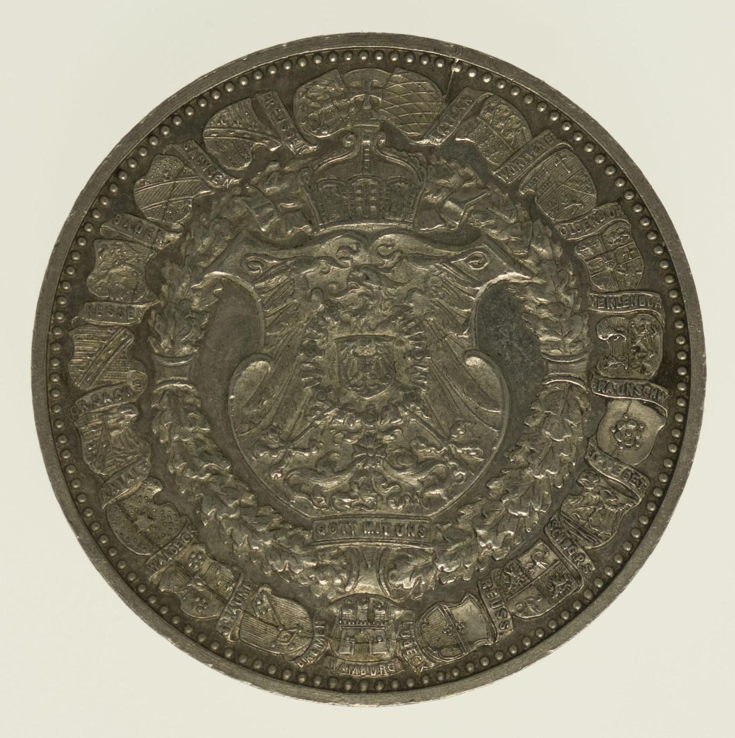 altdeutschland-deutsche-silbermuenzen - Preussen Wilhelm II. Silbermedaille 1894