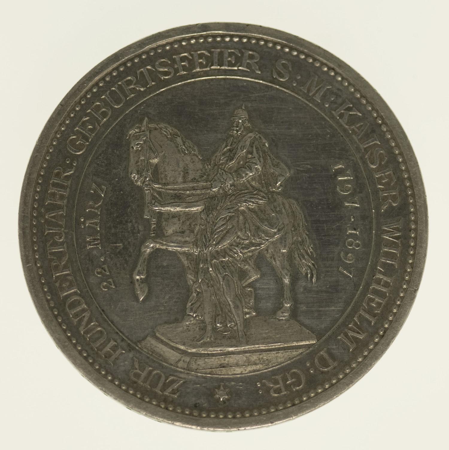 altdeutschland-deutsche-silbermuenzen - Preussen Wilhelm II. Silbermedaille 1897