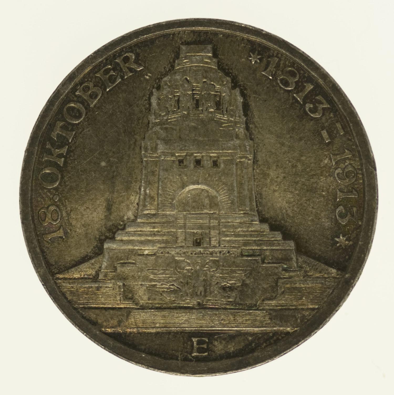 deutsches-kaiserreich-ab-1871-deutsche-silbermuenzen - Sachsen Friedrich August 3 Mark 1913