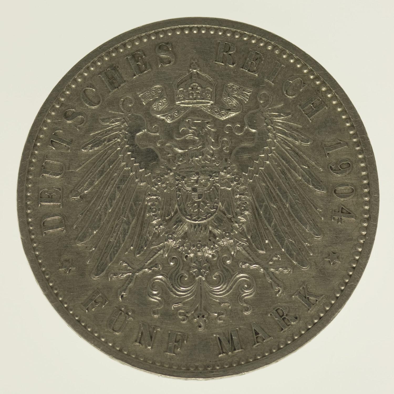 deutsches-kaiserreich-ab-1871-deutsche-silbermuenzen - Sachsen Georg 5 Mark 1904