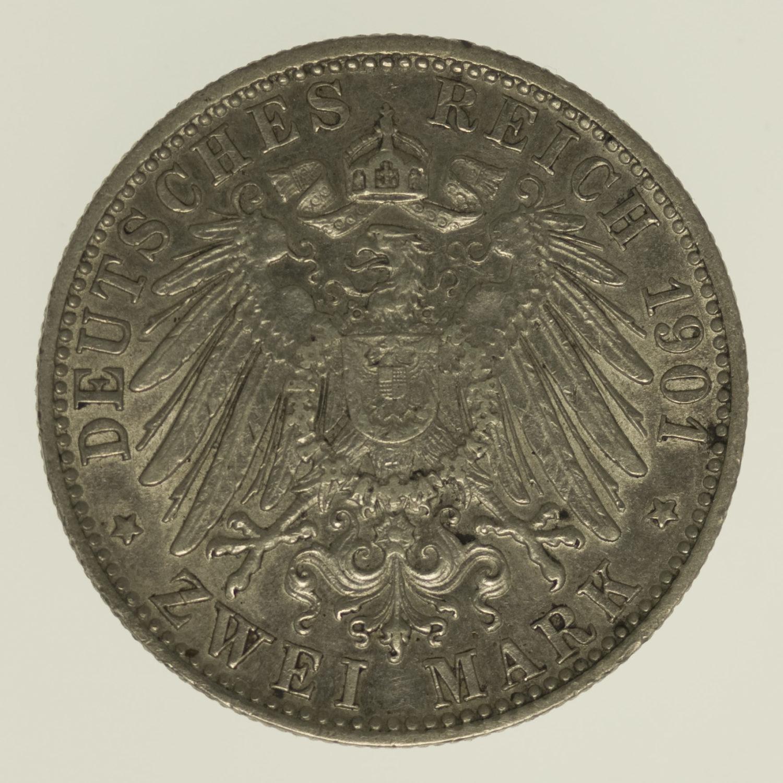 deutsches-kaiserreich-ab-1871-deutsche-silbermuenzen - Sachsen Meiningen Georg II. 2 Mark 1901