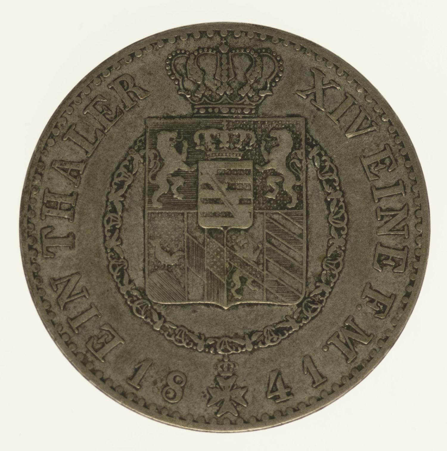 altdeutschland-deutsche-silbermuenzen - Sachsen Weimar Eisenach Carl Friedrich Taler 1841