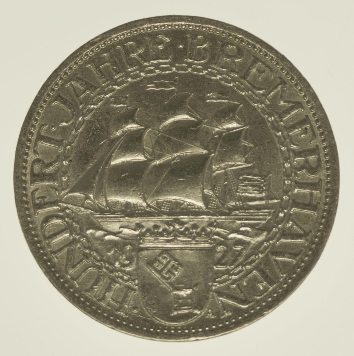 weimarer-republik-deutsche-silbermuenzen - Weimarer Republik 3 Reichsmark 1927 Bremerhaven
