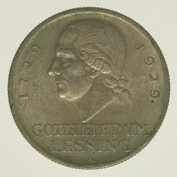 weimarer-republik-deutsche-silbermuenzen - Weimarer Republik 3 Reichsmark 1929 Lessing