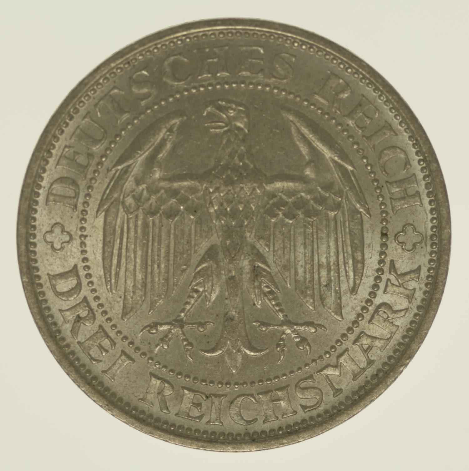weimarer-republik-deutsche-silbermuenzen - Weimarer Republik 3 Reichsmark 1929 Meißen