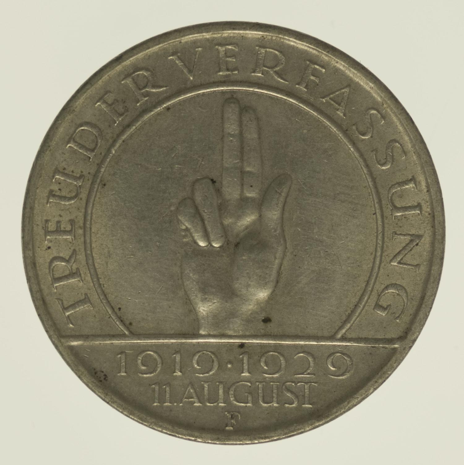 weimarer-republik-deutsche-silbermuenzen - Weimarer Republik 3 Reichsmark 1929 Schwurhand
