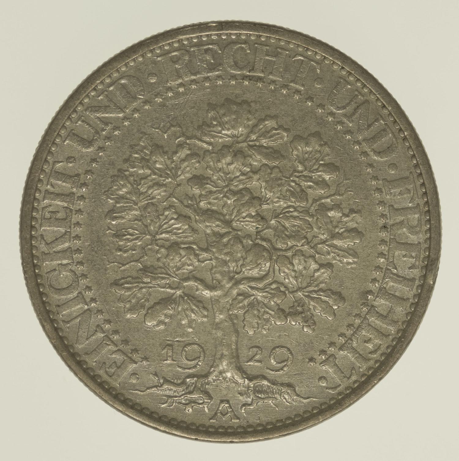 weimarer-republik-deutsche-silbermuenzen - Weimarer Republik 5 Reichsmark 1929 Eichbaum