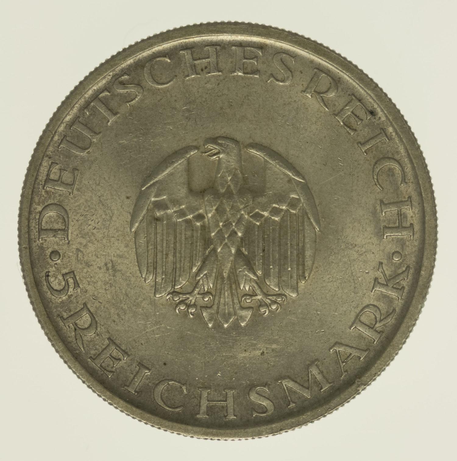 weimarer-republik-deutsche-silbermuenzen - Weimarer Republik 5 Reichsmark 1929 Lessing