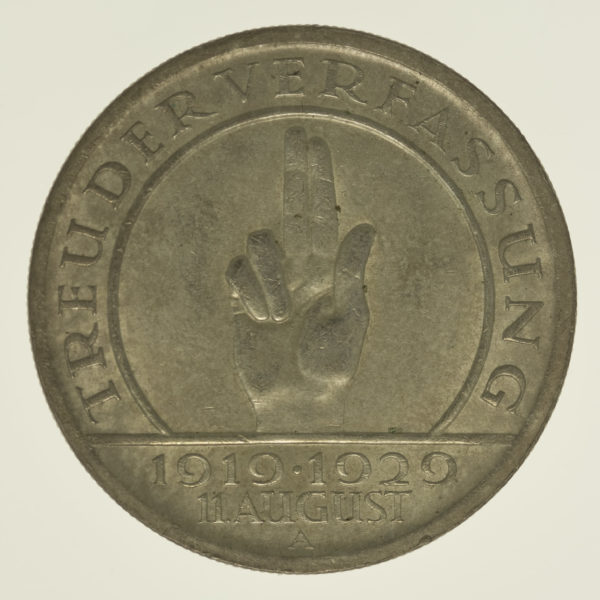 weimarer-republik-deutsche-silbermuenzen - Weimarer Republik 5 Reichsmark 1929 Schwurhand