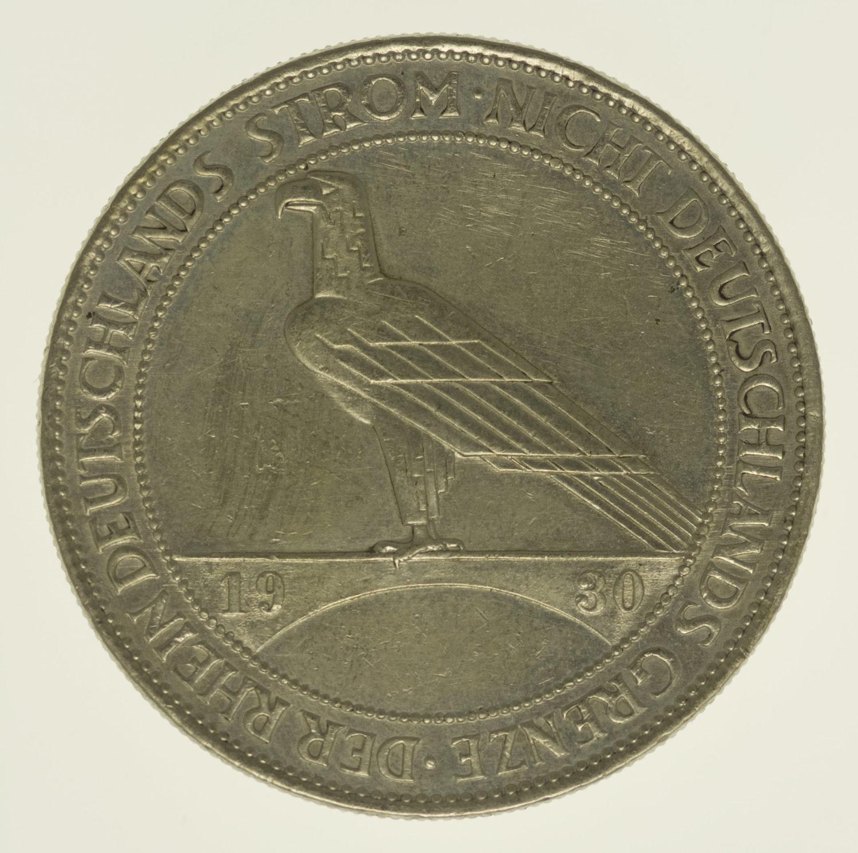 weimarer-republik-deutsche-silbermuenzen - Weimarer Republik 5 Reichsmark 1930 Rheinlandräumung