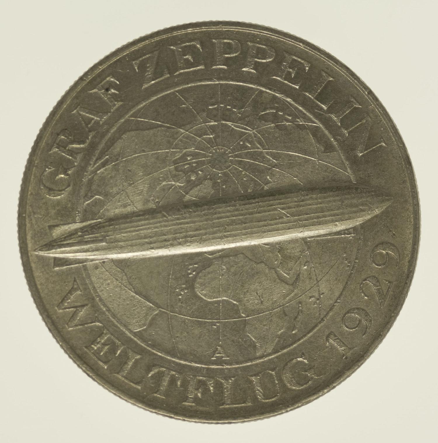 weimarer-republik-deutsche-silbermuenzen - Weimarer Republik 5 Reichsmark 1930 Zeppelin