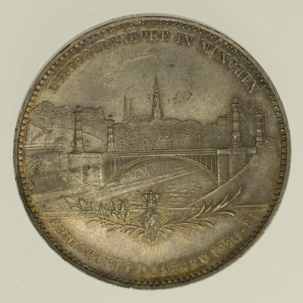 altdeutschland-deutsche-silbermuenzen - Bayern Luitpold Silbermedaille 1891