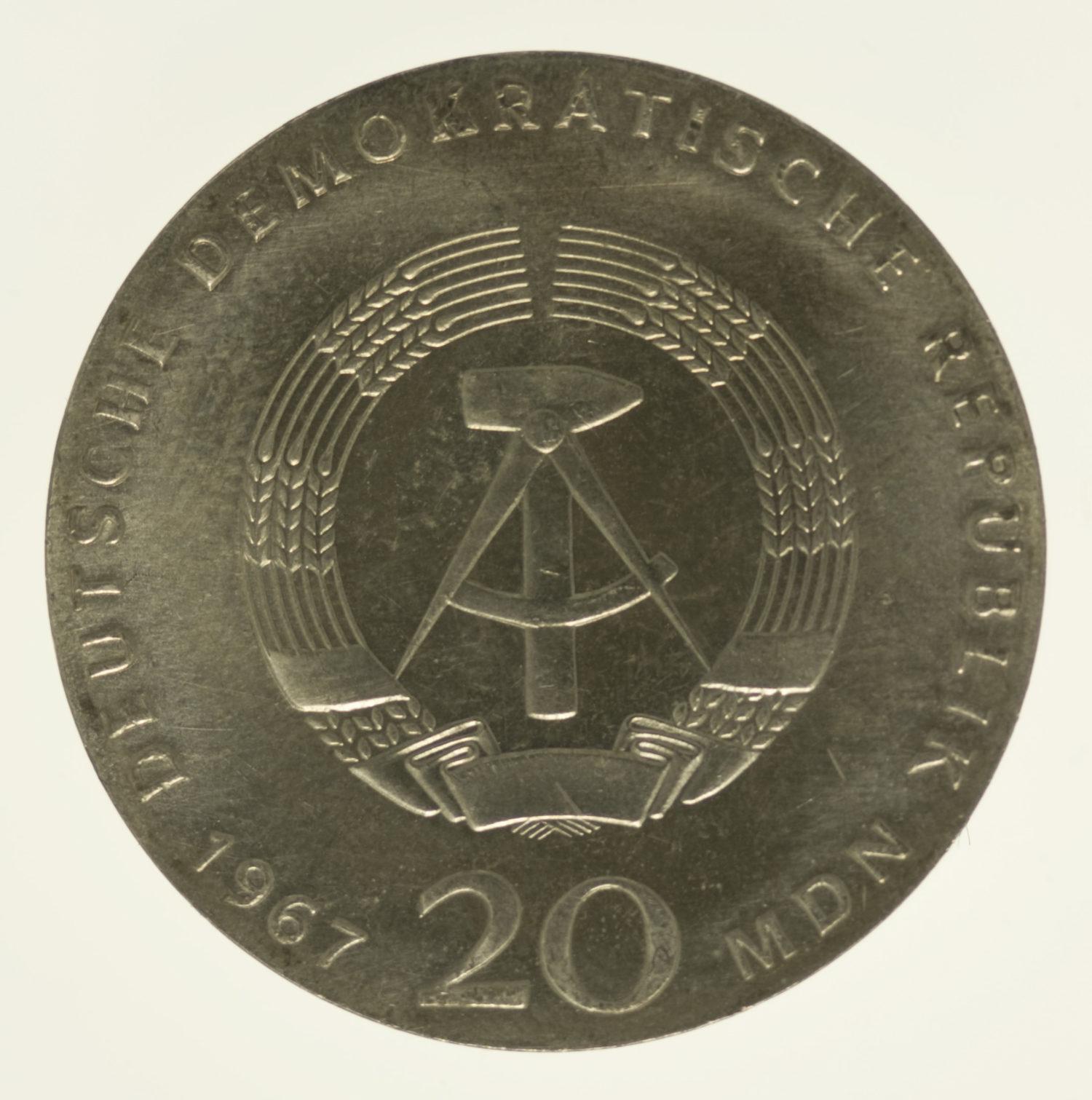 ddr-deutsche-silbermuenzen - DDR 20 Mark 1967 Humboldt
