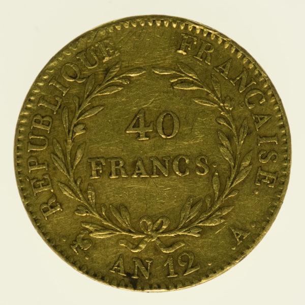 frankreich - Frankreich Bonaparte Premier Consul 40 Francs AN 12