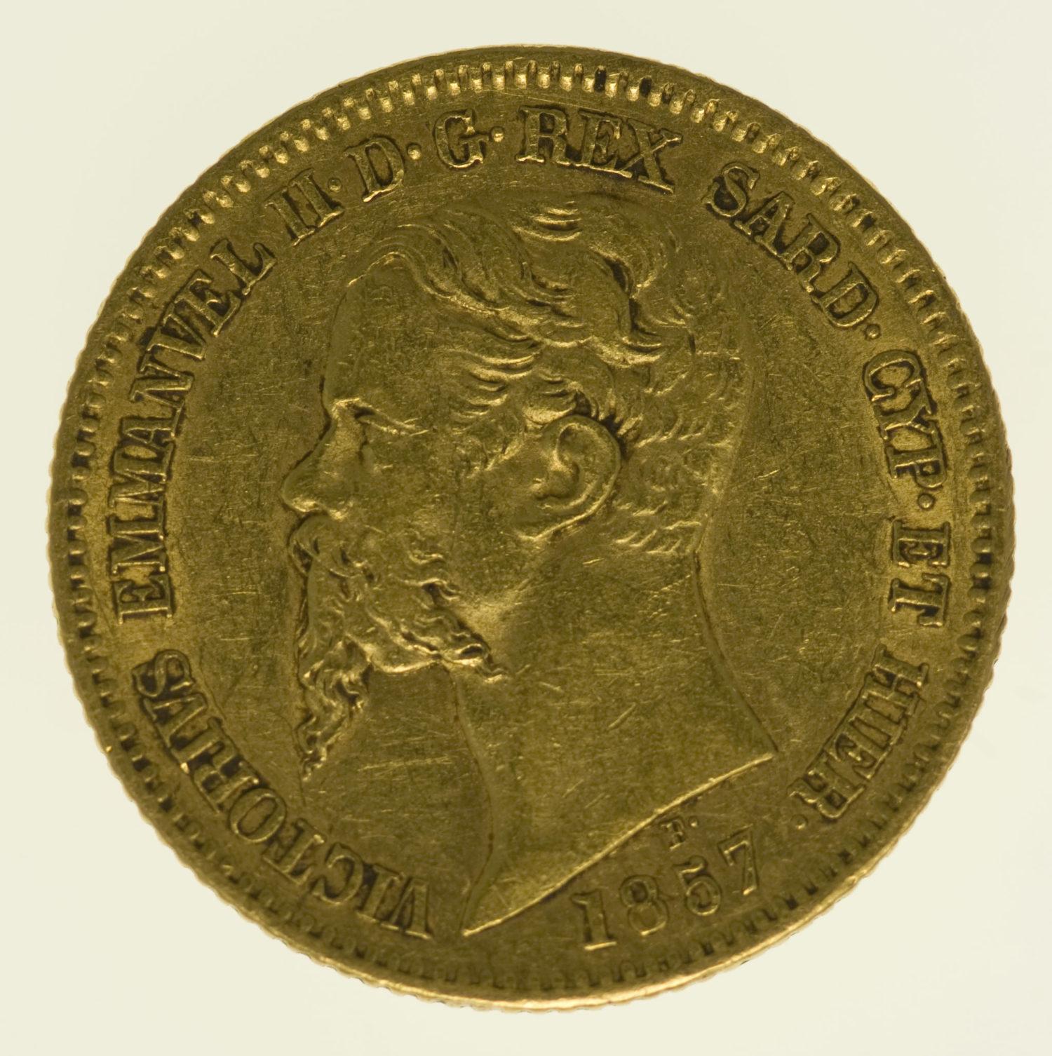 italien - Italien Sardinien Vittorio Emanuele II. 20 Lire 1857