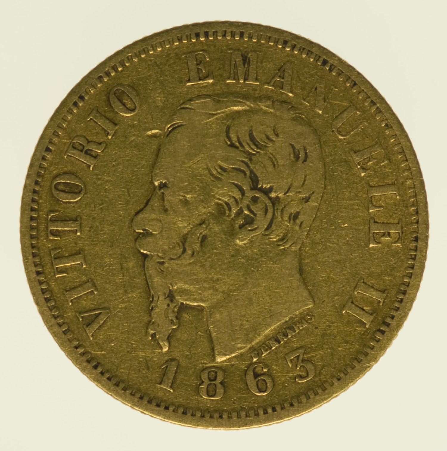 italien - Italien Vittorio Emanuele II. 10 Lire 1863