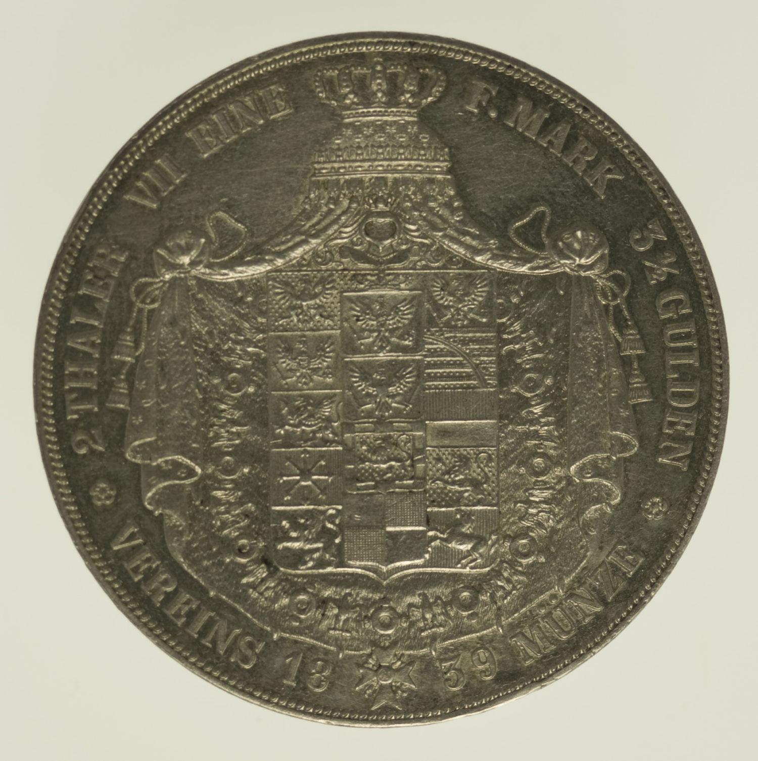 altdeutschland-deutsche-silbermuenzen - Preussen Friedrich Wilhelm III. Doppeltaler 1839