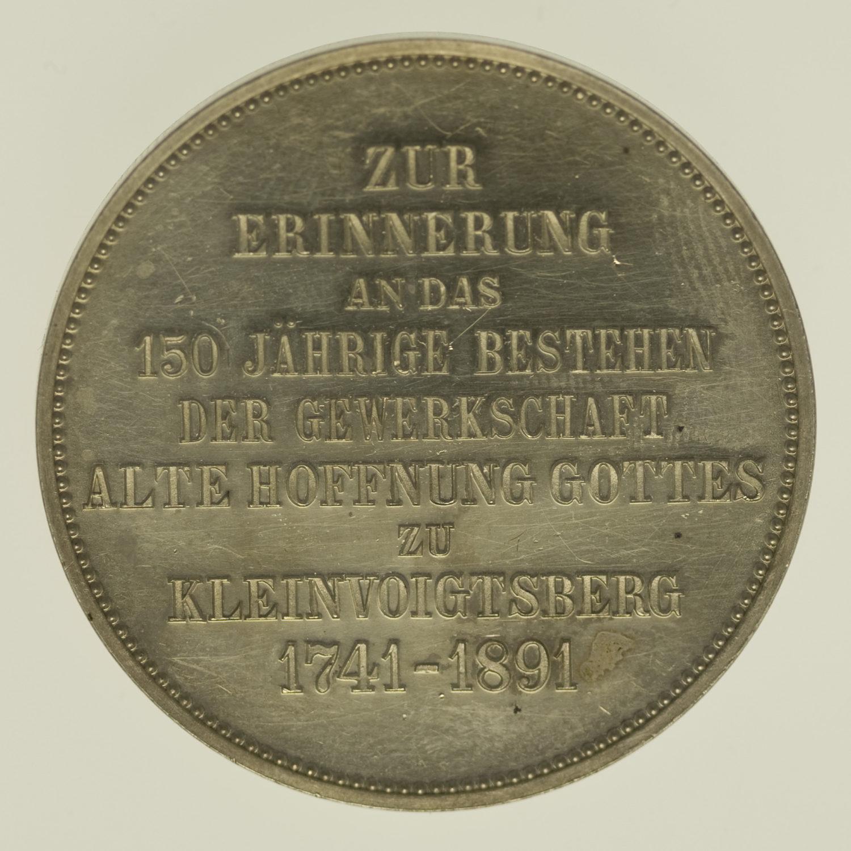 altdeutschland-deutsche-silbermuenzen - Sachsen Albert Silbermedaille 1891 Kleinvoigtsberg