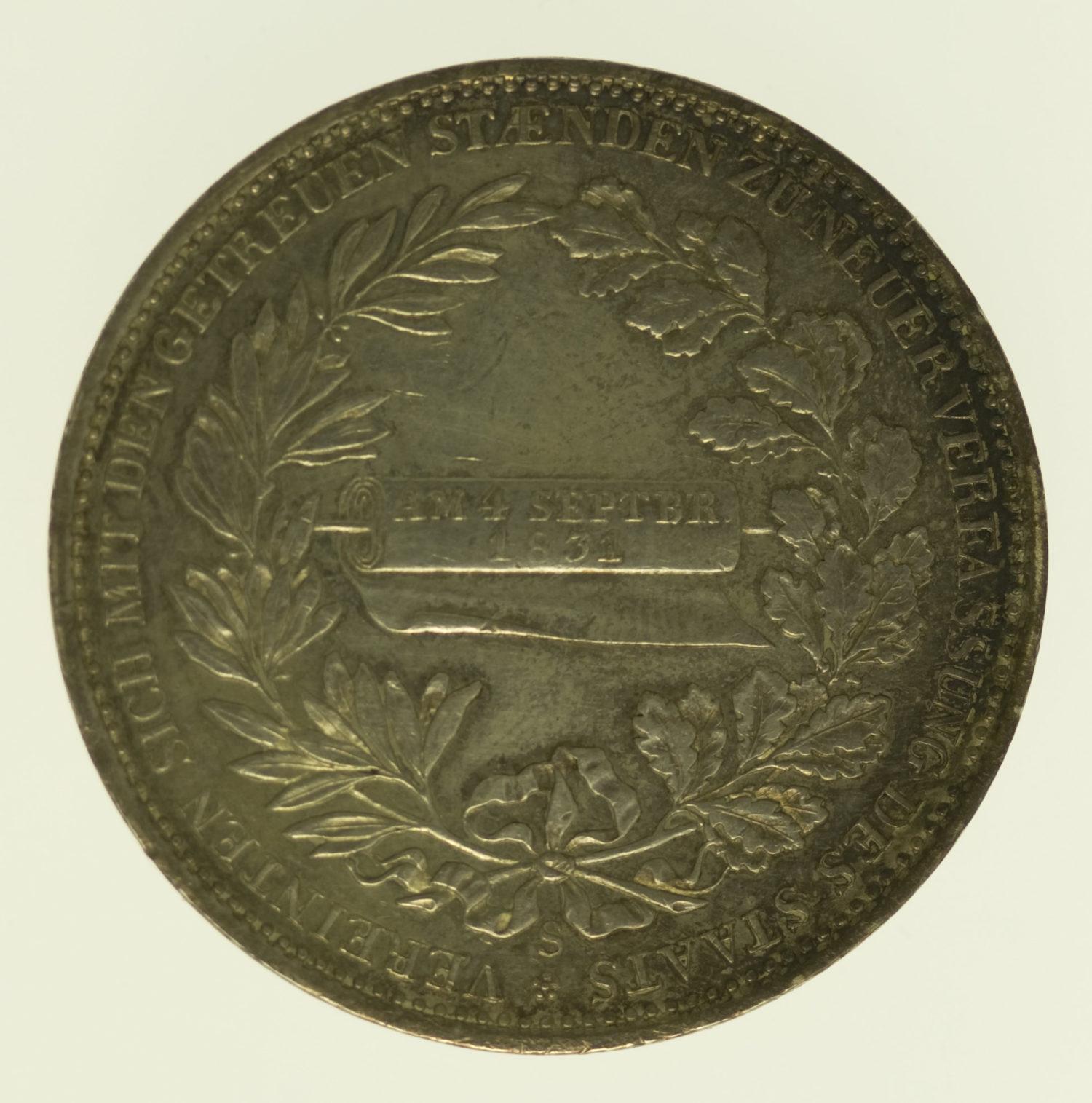 altdeutschland-deutsche-silbermuenzen - Sachsen Anton Taler 1831 Verfassung