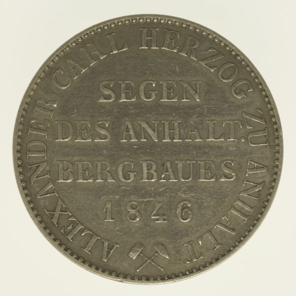 altdeutschland-deutsche-silbermuenzen - Anhalt Bernburg Alexander Carl Vereinstaler 1846