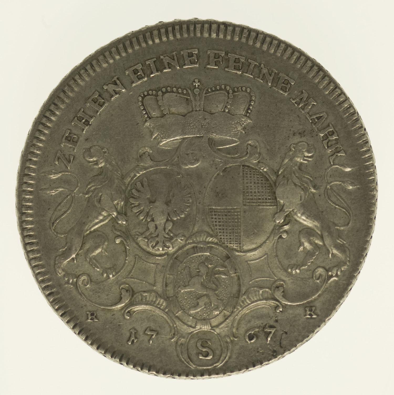 altdeutschland-deutsche-silbermuenzen - Brandenburg Ansbach Christian Friedrich Karl Alexander Taler 1767