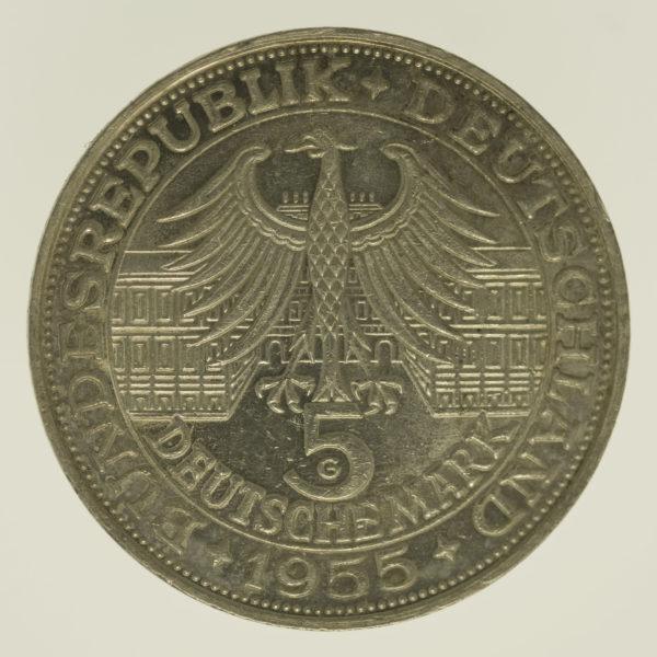 brd-deutsche-silbermuenzen - BRD 5 Mark 1955 Markgraf von Baden