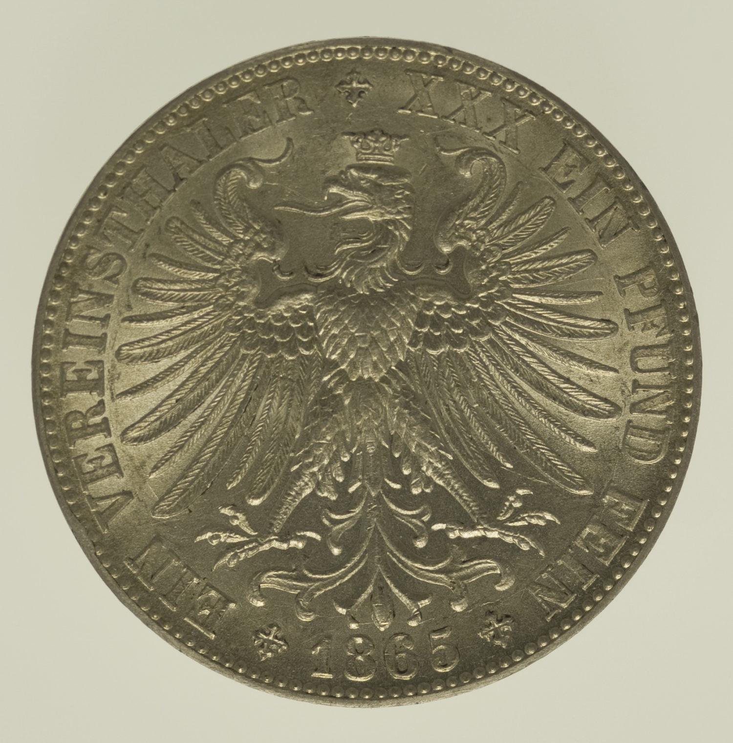 altdeutschland-deutsche-silbermuenzen - Frankfurt Stadt Vereinstaler 1865