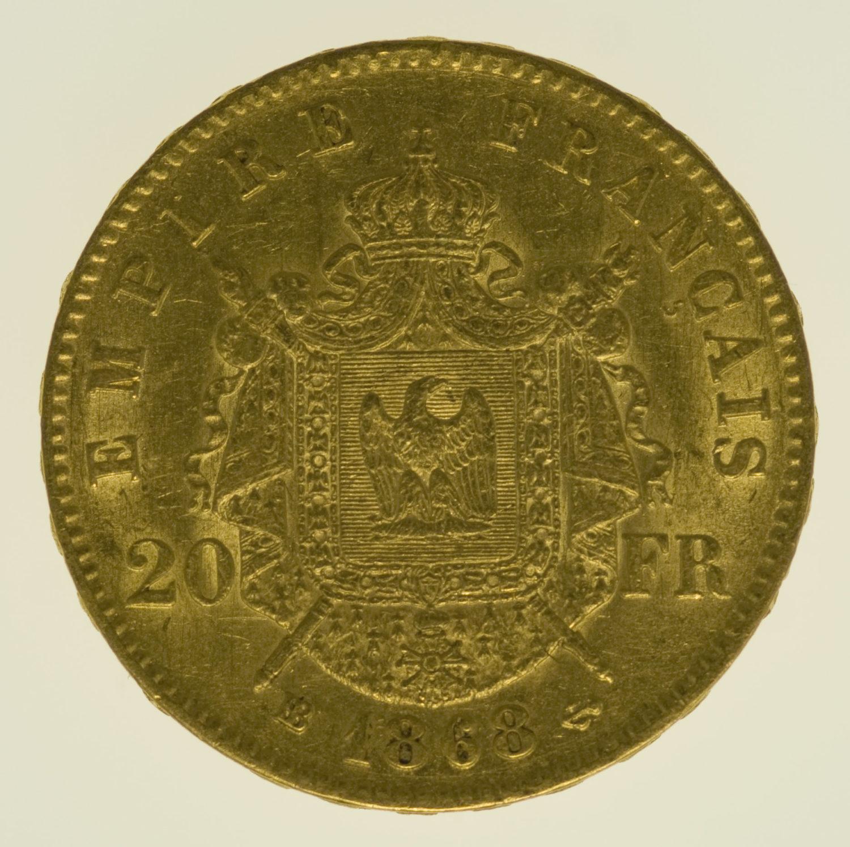 frankreich - Frankreich Napoleon III. 20 Francs 1868 BB