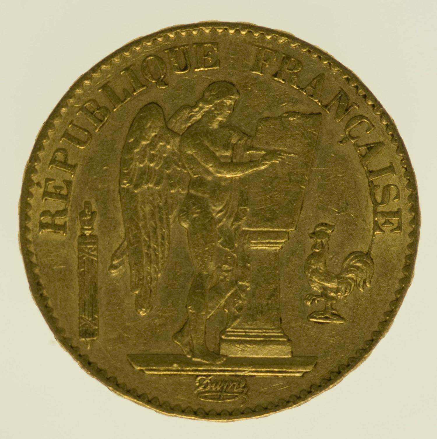 frankreich - Frankreich 20 Francs 1878 Genius