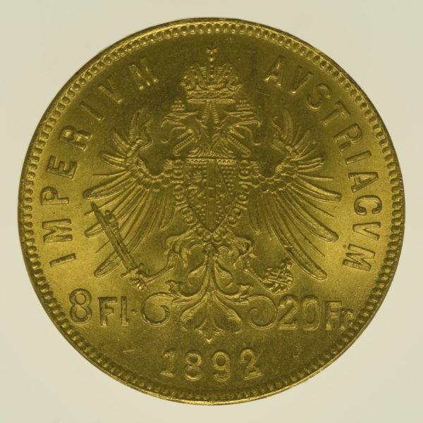 oesterreich - Österreich Kaiserreich Franz Joseph I. 8 Florin 1892 NP