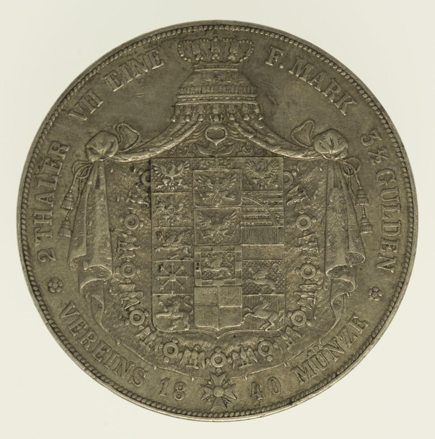altdeutschland-deutsche-silbermuenzen - Preussen Friedrich Wilhelm III. Doppeltaler 1840