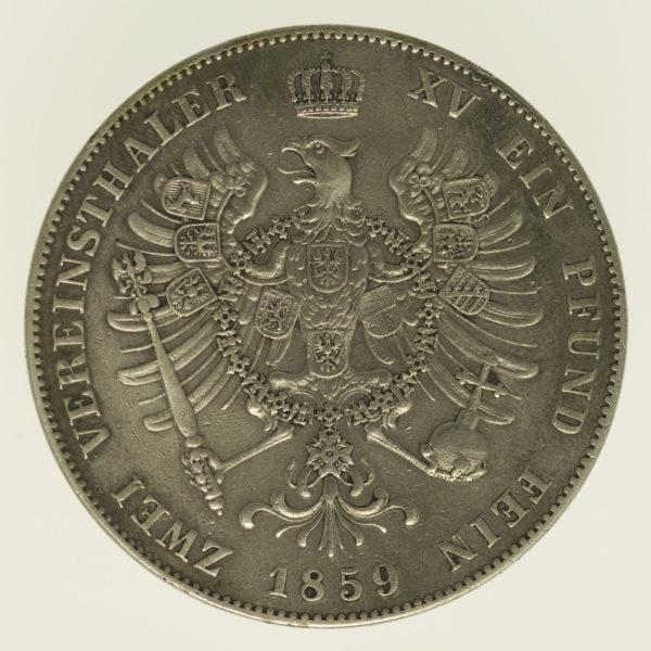 altdeutschland-deutsche-silbermuenzen - Preussen Friedrich Wilhelm IV. Doppeltaler 1859