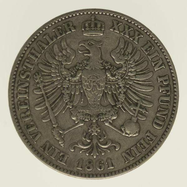 altdeutschland-deutsche-silbermuenzen - Preussen Wilhelm I. Taler 1861