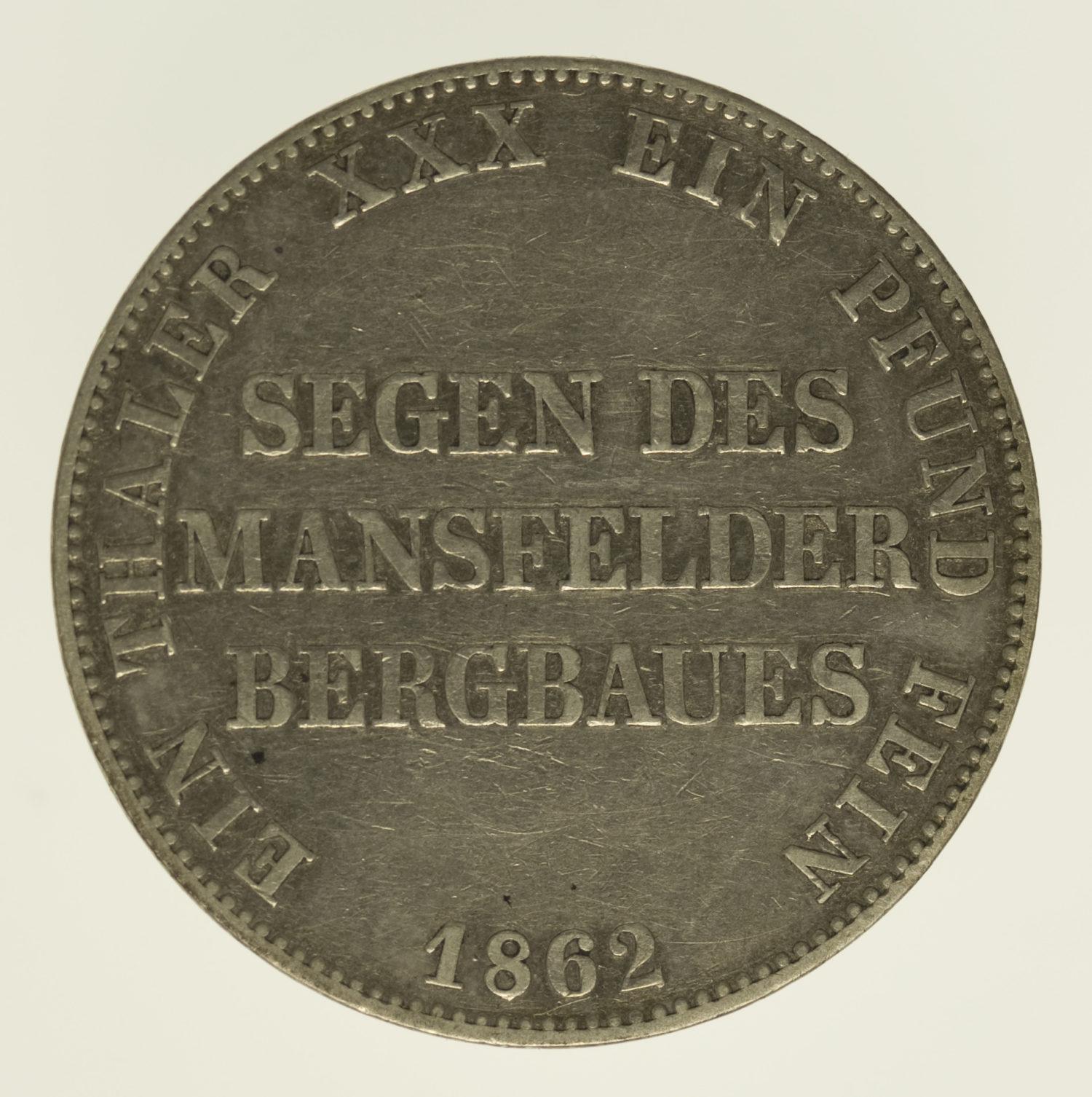 altdeutschland-deutsche-silbermuenzen - Preussen Wilhelm I. Taler 1862
