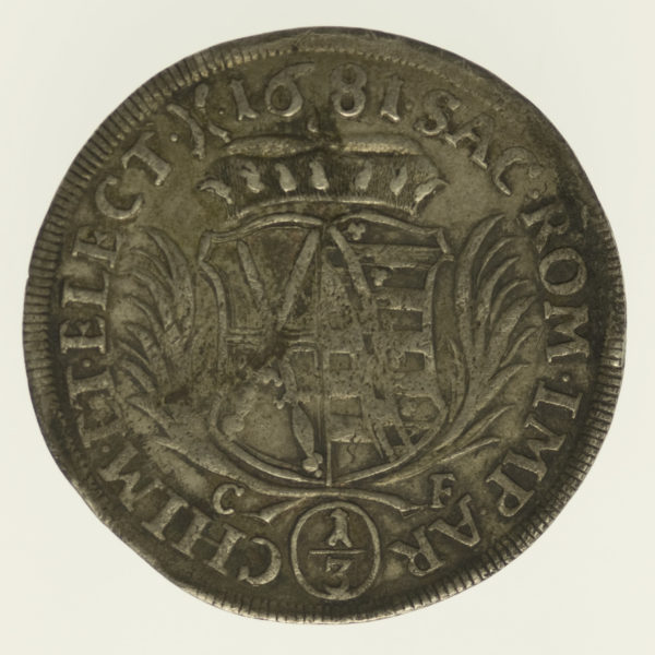 altdeutschland-deutsche-silbermuenzen - Sachsen Johann Georg III. 1/3 Taler 1681
