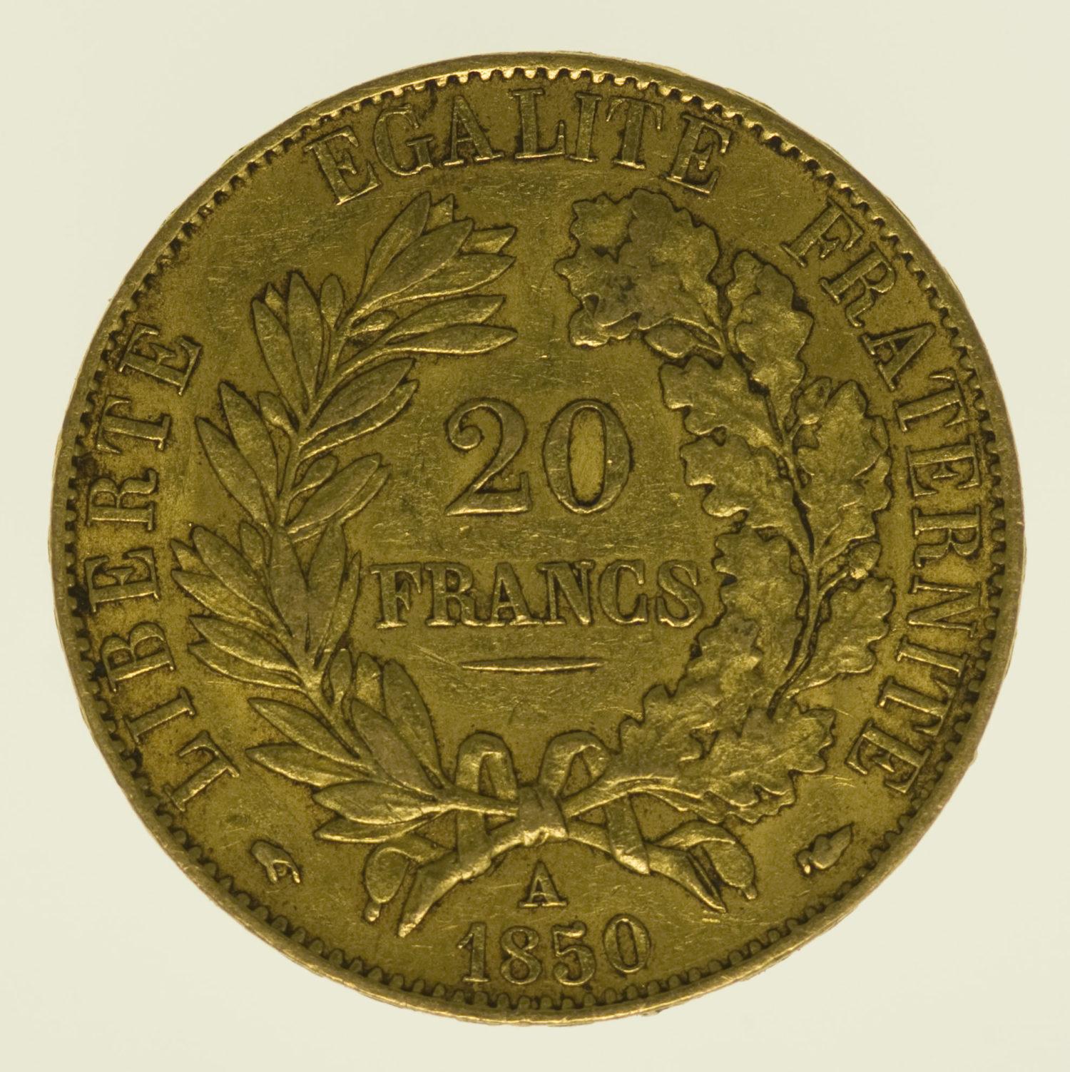frankreich - Frankreich 20 Francs 1850 A