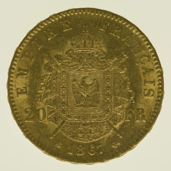 frankreich - Frankreich Napoleon III. 20 Francs 1867 BB