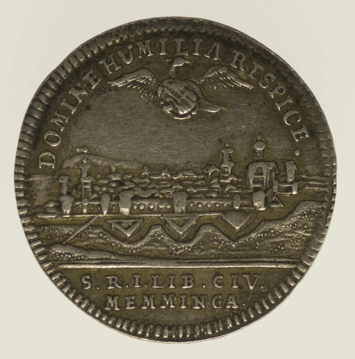 altdeutschland-deutsche-silbermuenzen - Memmingen Stadt Silberabschlag des Dukaten 1748