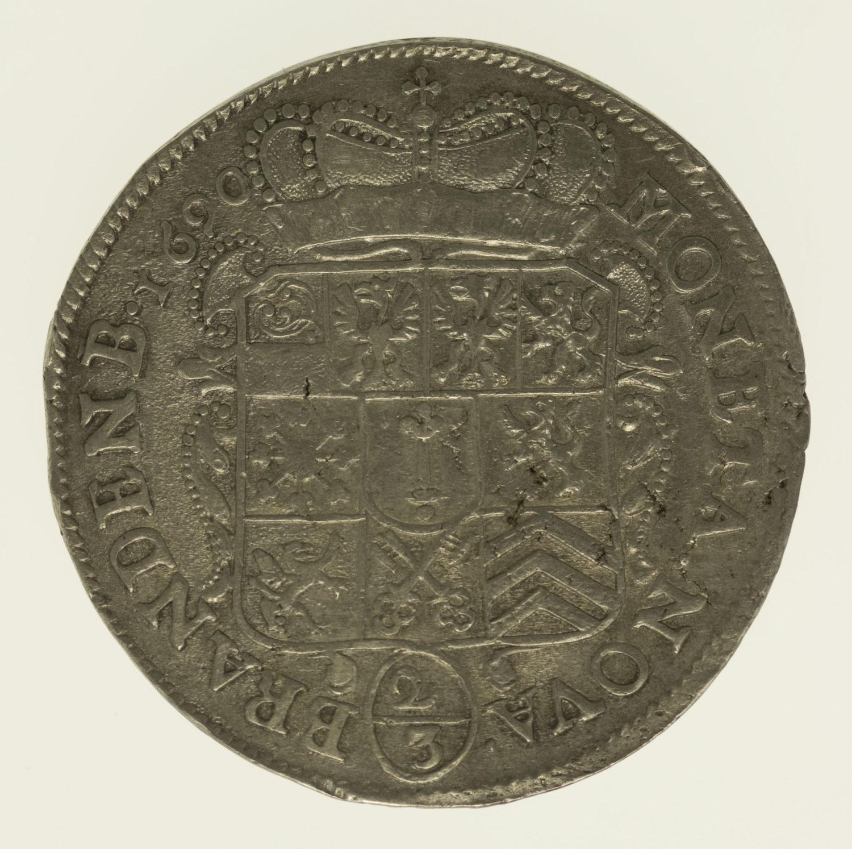 altdeutschland-deutsche-silbermuenzen - Preussen Friedrich III. 2/3 Taler 1690
