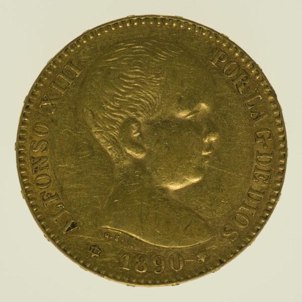 spanien - Spanien Alfonso XIII. 20 Pesetas 1890 / 18-90